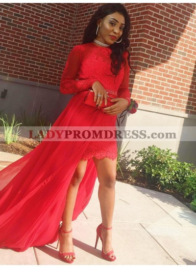 2020 Charming Red Sheath High Low Knee Length Lace Tulle Short Long Sleeves Prom Dress
