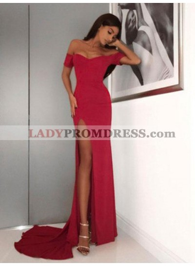 Sexy Sheath Off Shoulder Sweetheart Side Slit Long Red Prom Dress 2021