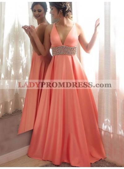 Elegant A Line Satin Coral V Neck Beaded Sash Prom Dress 2020