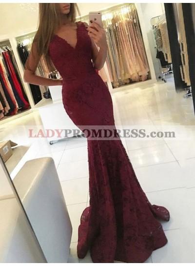 Sexy Mermaid Burgundy V Neck Lace Sleeveless Long Prom Dress 2021