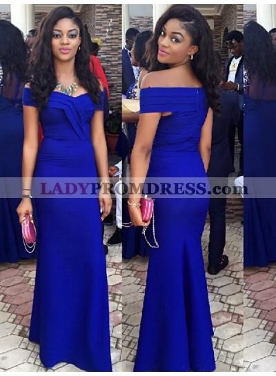 Charming Sheath Satin Off Shoulder Royal Blue Prom Dress 2021