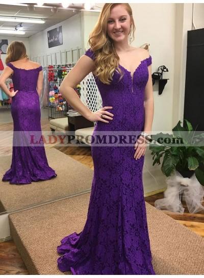Amazing Sheath Regency Lace Off Shoulder Sweetheart Long Prom Dress 2021