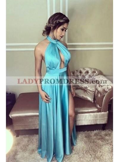 2021 Cheap A Line Elastic Satin Blue Halter Side Slit Key Hole Backless Prom Dress