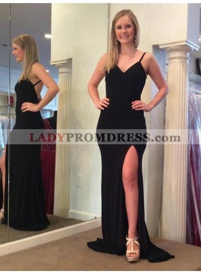 Cheap Black Sheath Backless Side Slit V Neck Prom Dress 2021