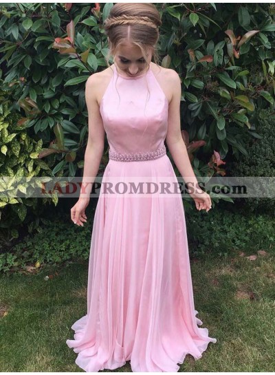 Cheap A Line Chiffon Pink Halter Beaded Sash Prom Dress 2021
