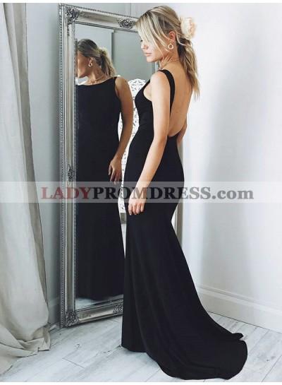 2020 Sexy Black Sheath Scoop Neck Backless Long Prom Dress
