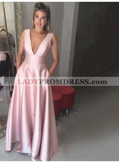 2021 Cheap A Line Satin Deep V Neck Pink Sleeveless Prom Dress