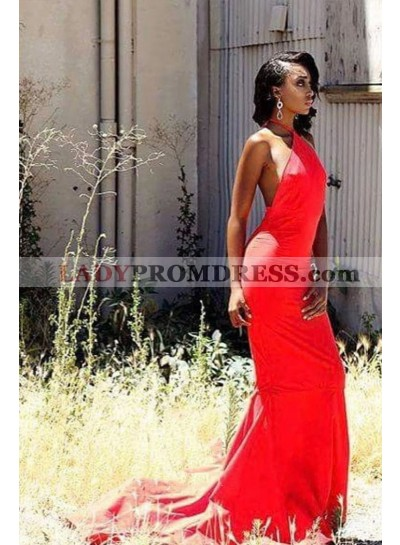 2020 Red Sheath Halter Backless African American Long Prom Dress