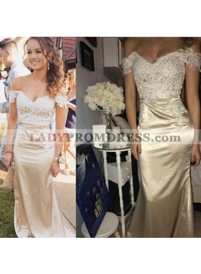 2021 New Arrival Sheath Off Shoulder Sweetheart Champagne Prom Dress With Appliques