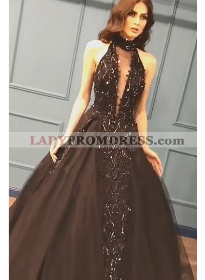 2020 New Designer Black High Neck Backless Satin Ball Gown Prom Dress