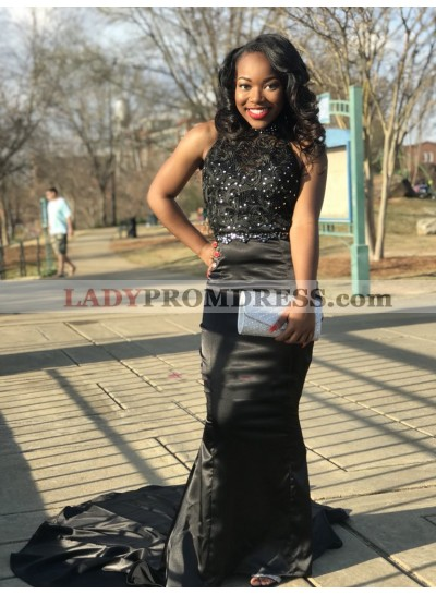 2021 New Designer Sheath Black High Neck Lace Elastic Satin Long Backless Prom Dress