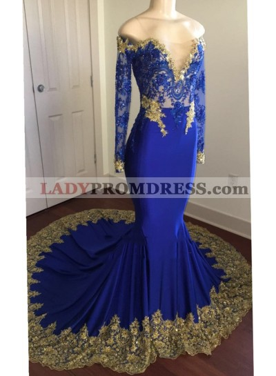 2020 Sexy Mermaid Royal Blue And Gold Appliques Long Sleeves V Neck Off Shoulder Prom Dress