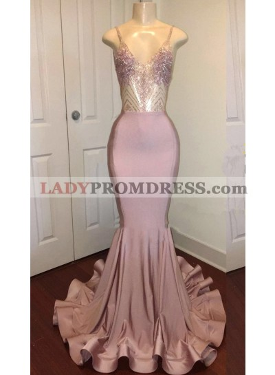 Sexy Mermaid Dusty Rose Sweetheart Shiny Backless Long Prom Dress 2020