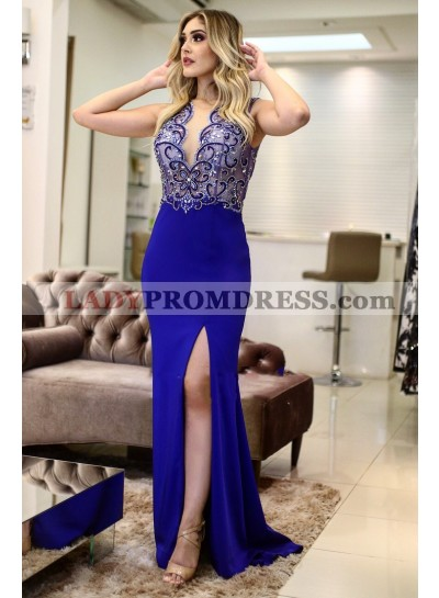 2021 Charming Royal Blue Sheath Side Slit Beaded Sleeveless Prom Dress