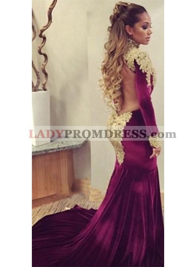 2021 Sexy Mermaid Burgundy and Gold Appliques Velvet Long Sleeves African American Long Backless Prom Dress