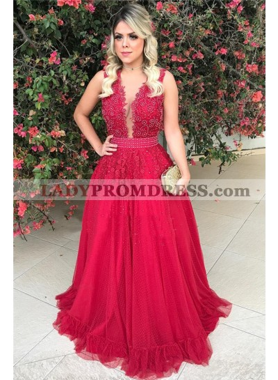 2020 Cheap A Line Tulle Red Beaded Backless Bowknot Back V Neck Long Prom Dress