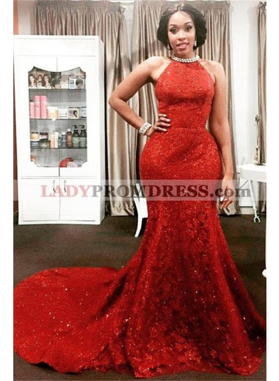Charming Red Mermaid Lace Backless High Neck Long African American Prom Dress 2020