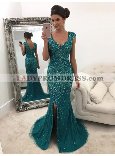 2021 New Arrival Sheath Tulle Side Slit Teal Sweetheart Capped Sleeves Prom Dress