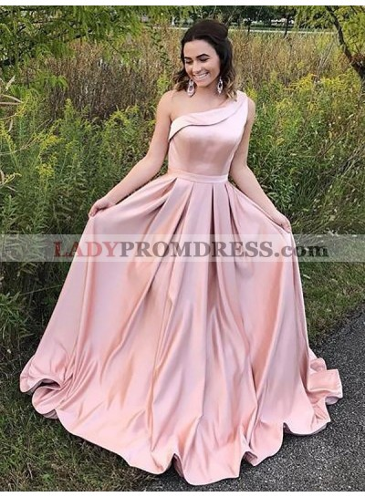 2020 Elegant A Line One Shoulder Satin Pink Long Prom Dress