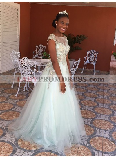 2021 Cheap A Line White Tulle Beaded Sweetheart Beaded Prom Dress