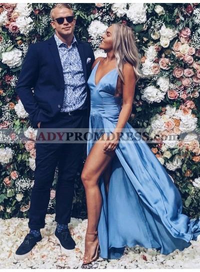 Charming A Line Blue Side Slit Elastic Satin Sweetheart Backless Prom Dress 2020