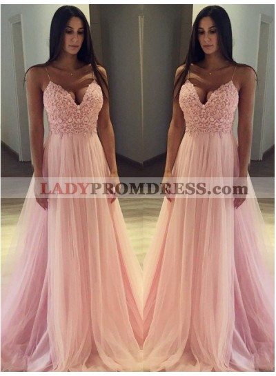 2021 Elegant A Line Sweetheart Pink Tulle Sweetheart Spaghetti Straps Prom Dress