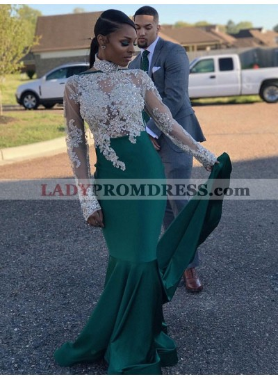 2020 Cheap Sheath Emerald and White Long Sleeves High Neck Beaded African American Prom Dress
