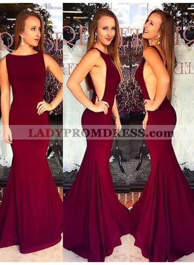 2021 Sexy Burgundy Mermaid Backless Scoop Long Prom Dress