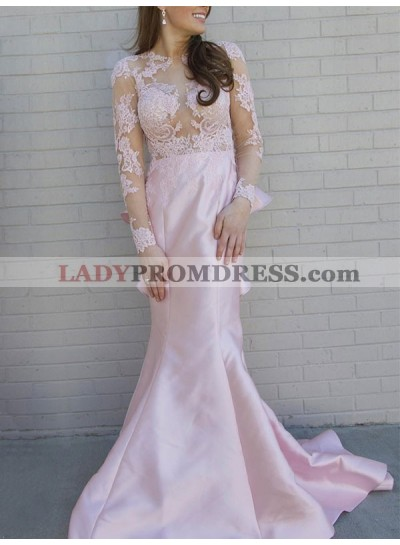 2020 New Designer Mermaid Pink Long Sleeves Backless See Through Lace Prom Dress