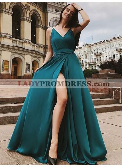 2020 Charming A Line Side Slit Teal V Neck Elastic Satin Long Prom Dress