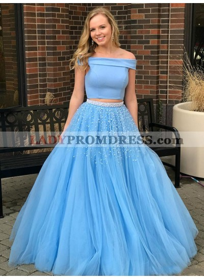 2020 Elegant Blue Off Shoulder Tulle Beaded Ball Gown Plus Size Two Pieces Prom Dress