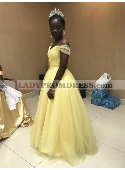 2020 Cheap A Line Off Shoulder Light Yellow Sweetheart Tulle Prom Dress With Belt