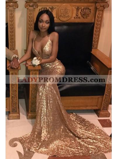 Amazing Gold Sheath Halter V Neck Backless Sequence 2021 Prom Dress