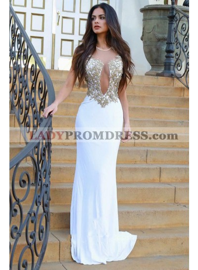 Charming White Sheath New Designer See Through Backless Tulle Prom Dress