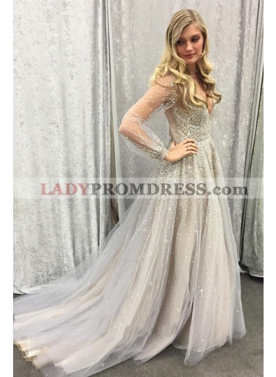 2020 Newly A Line Gray Tulle Long Sleeves See Through Sweetheart Beaded Prom Dress