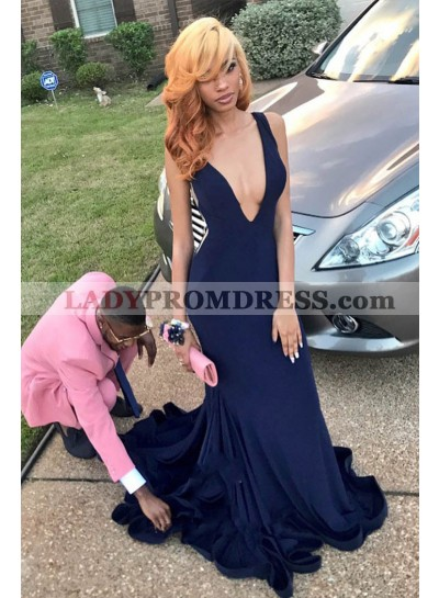 Charming Dark Navy Deep V Neck Sheath Velvet Backless Long Prom Dress 2020