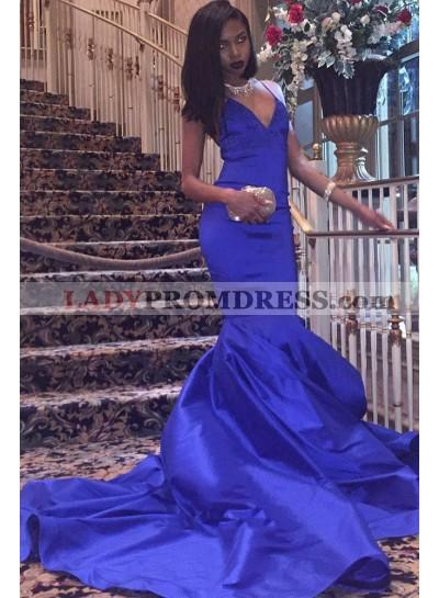 2021 Charming Satin Mermaid Royal Blue V Neck Backless Criss Cross Prom Dress