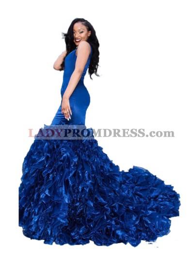 Sexy Royal Blue Ruffles Pleated Sweetheart Mermaid Long 2021 Prom Dress