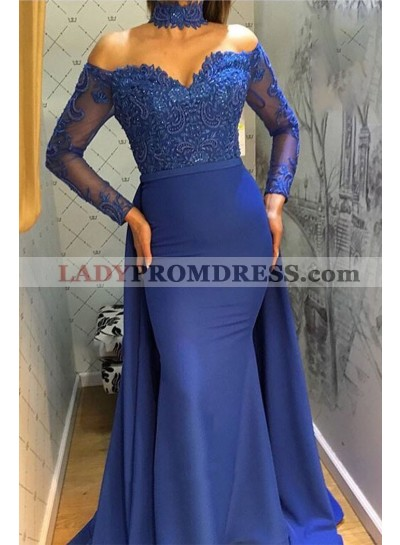 Charming Mermaid Royal Blue Long Sleeves Off Shoulder Sweetheart Lace Prom Dress 2021