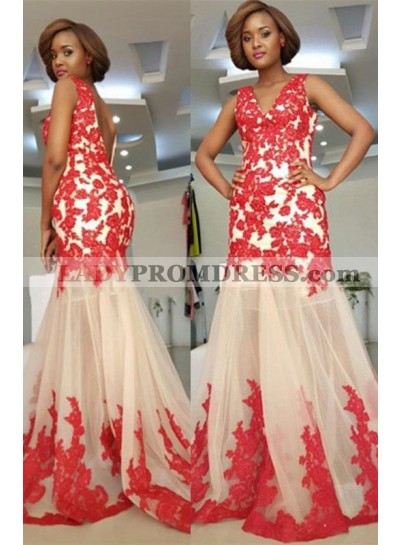 2021 Cheap Sheath Champagne and Red V Neck Tulle Backless Prom Dress