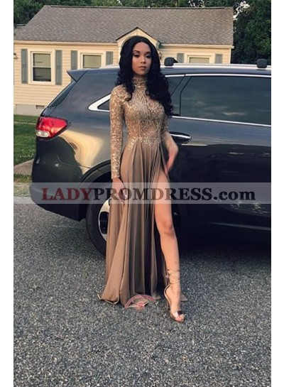 2020 Cheap Long Sleeves A Line Side Slit Brown High Neck Lace Prom Dress