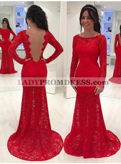 Elegant Red Sheath Long Sleeves Lace Backless Scoop Prom Dress 2020