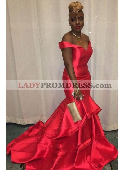 2021 Charming Red Mermaid Off Shoulder Sweetheart Ruffles Satin Pleated Prom Dress