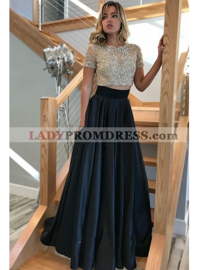 2021 Elegant A Line Satin Black Short Sleeves Beaded Two Pieces Prom Dress