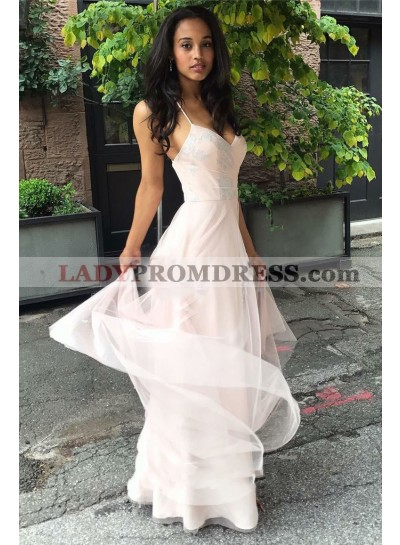 Cheap A Line Tulle Pearl Pink Sweetheart Halter Backless Prom Dress 2021