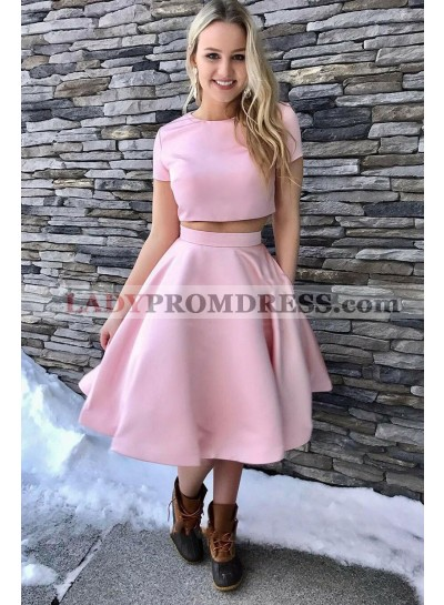2021 Newly A Line Pink Short Sleeves Two Pieces Knee Length Short Prom Dress