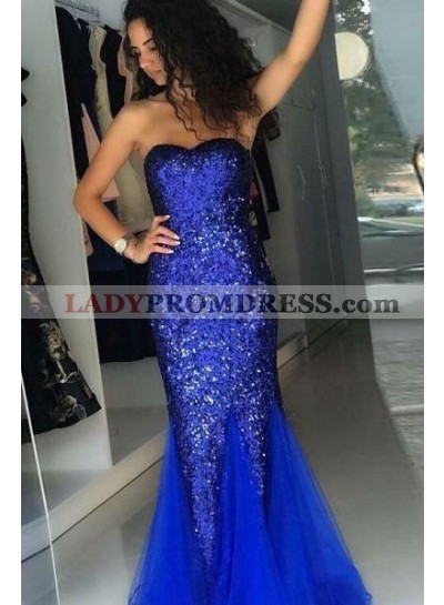 2021 Cheap Strapless Royal Blue Sheath Sequence Tulle Sweetheart Lace Up Back Prom Dress