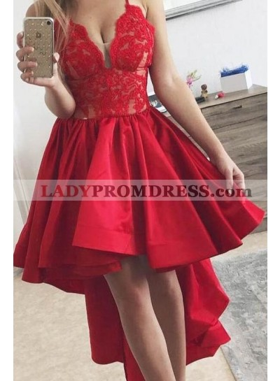 2021 New Arrival A Line Red Satin High Low Lace Short Prom Dress