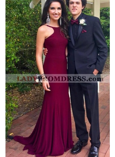 2020 Amazing Sheath Burgundy Backless Scoop Long Prom Dress