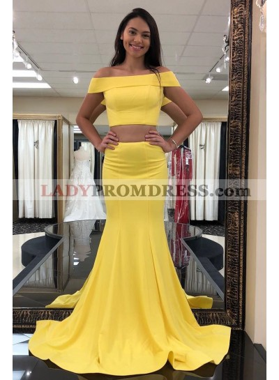 2021 Sexy Mermaid Satin Yellow Off Shoulder Two Pieces Long Prom Dress